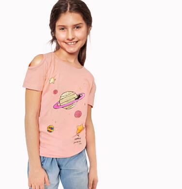 Endo - Bluzka z krótkim rękawem dla dziewczynki, z planetą i odkrytymi ramionami, pomarańczowa, 2-8 lat D03G126_1 134
