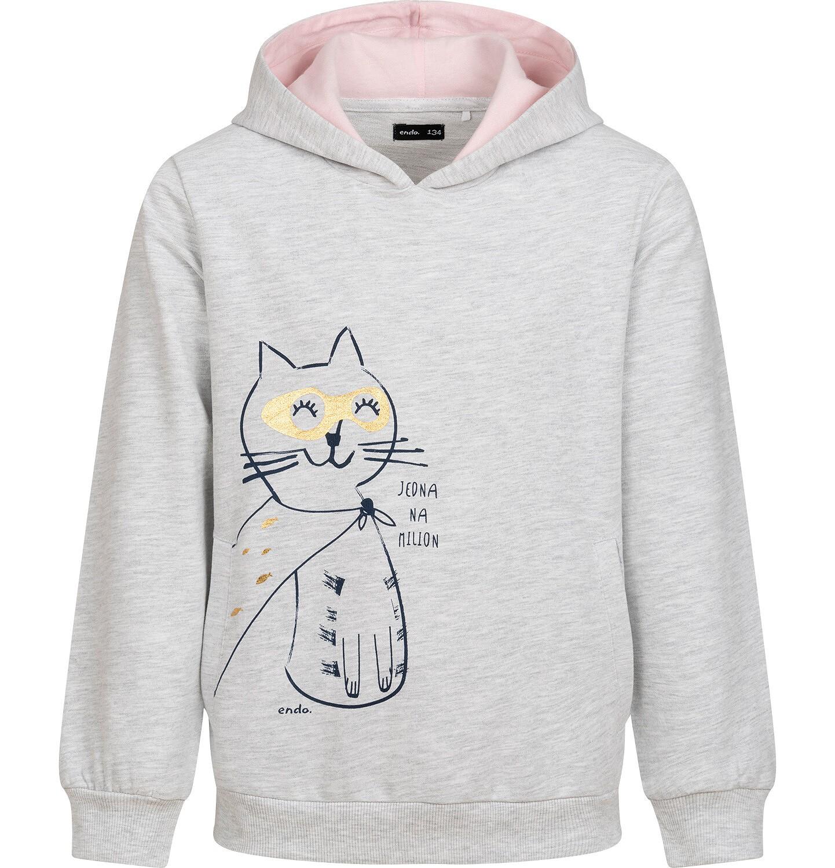 Endo - Bluza z kapturem dla dziewczynki, z kotem bohaterem, jasnoszary melanż, 9-13 lat D05C018_1