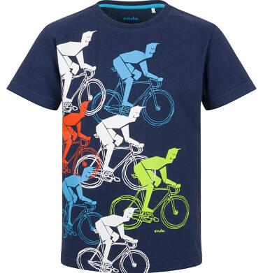 T-shirt z krótkim rękawem dla chłopca, z rowerzystami, granatowy, 9-13 lat C03G591_1
