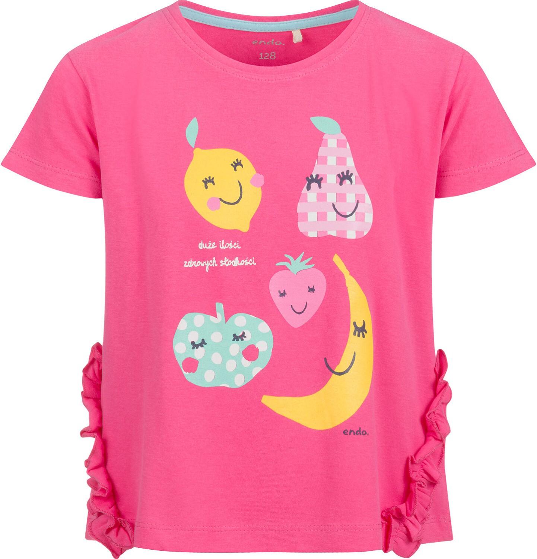 Endo - Bluzka z krótkim rękawem dla dziewczynki, z owocowym motywem, różowa, 9-13 lat D03G645_1