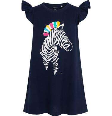Endo - Dżersejowa sukienka z krótkim rękawem dla dziewczynki, z zebrą, granatowa, 9-13 lat D05H035_1 7