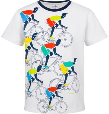 Endo - T-shirt z krótkim rękawem dla chłopca, z rowerzystami, biały, 2-8 lat C03G092_1 16