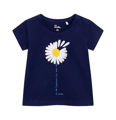 Endo - T-shirt z krótkim rękawem dla dziecka do 2 lat, ze stokrotką, granatowy N05G030_1 3