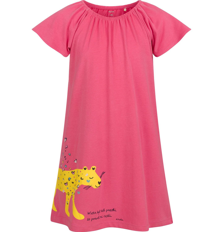 Endo - Sukienka z krótkim rękawem, luźny krój, z panterą, różowa, 9-13 lat D03H507_1