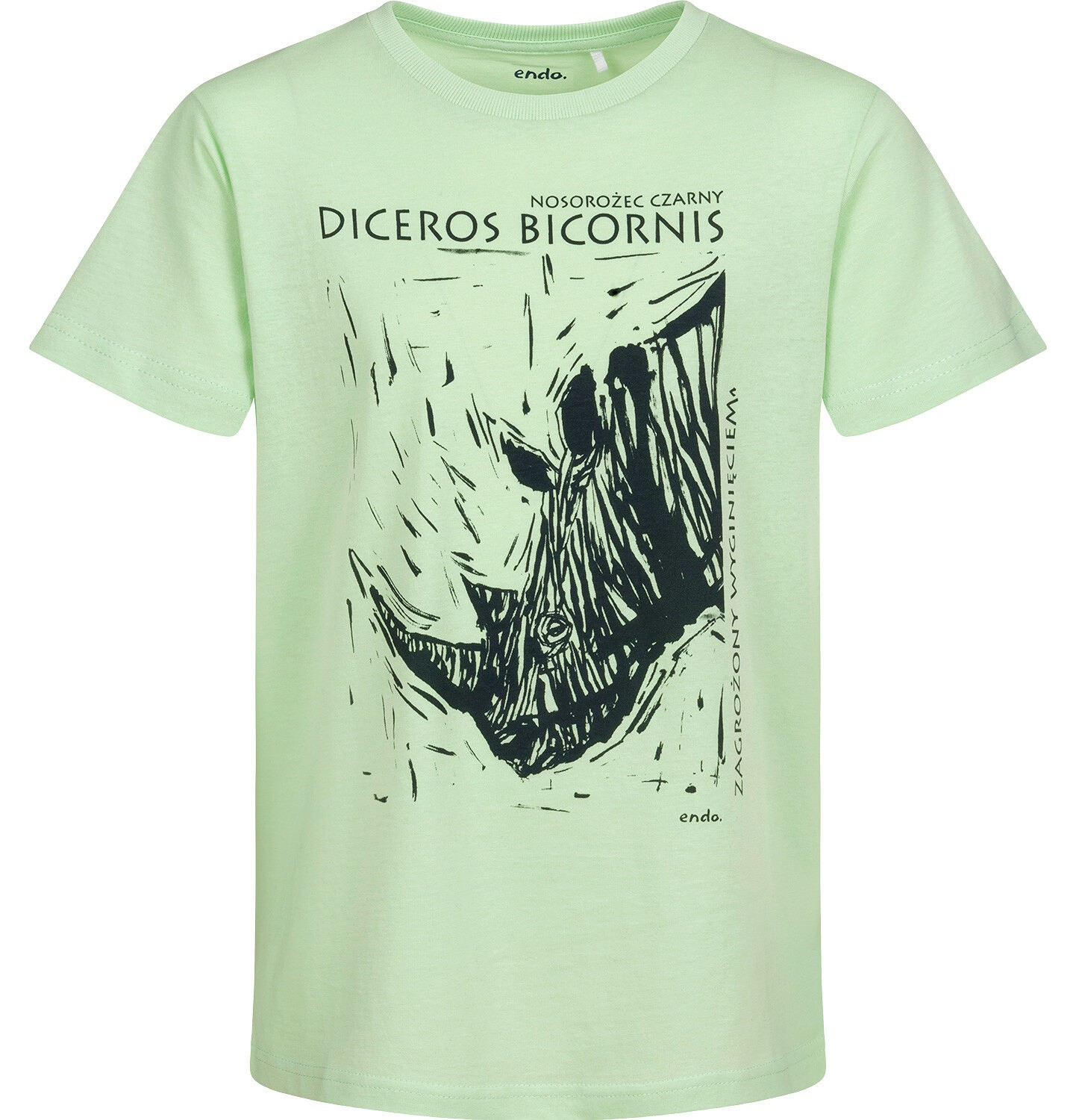 Endo - T-shirt z krótkim rękawem dla chłopca, z nosorożcem, zielony, 9-13 lat C05G042_2