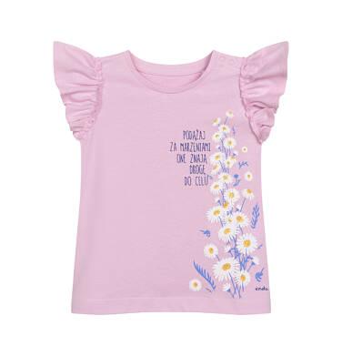 Endo - T-shirt z krótkim rękawem dla dziecka do 2 lat, ze stokrotkami, różowy N05G032_1 2