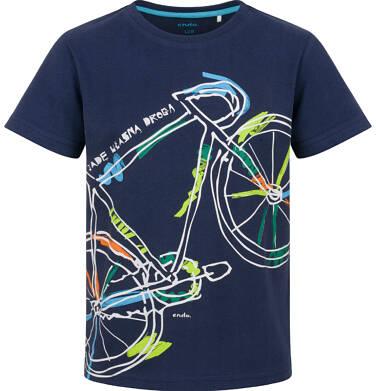 Endo - T-shirt z krótkim rękawem dla chłopca, z kolorowym rowerem, granatowy, 2-8 lat C03G093_1
