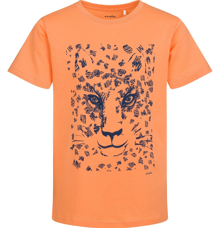 Endo - T-shirt z krótkim rękawem dla chłopca, z lampartem, pomarańczowy, 9-13 lat C05G043_1