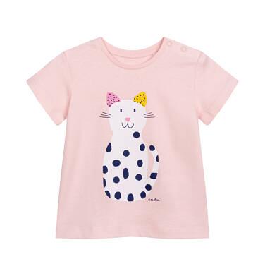 Endo - T-shirt z krótkim rękawem dla dziecka do 2 lat, z kotem, różowy N05G058_1 1