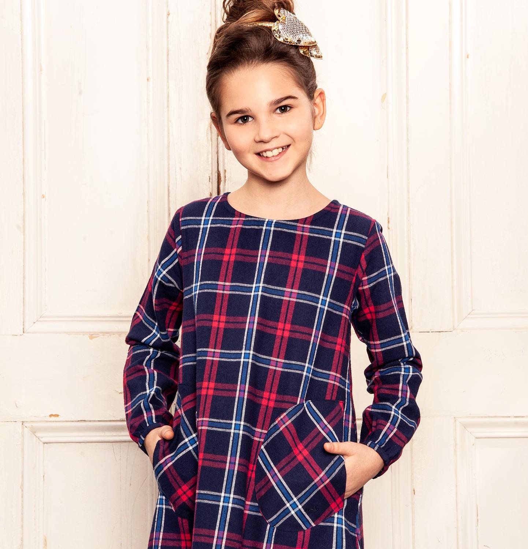 Endo - Sukienka flanelowa z długim rękawem dla dziewczynki 9-13 lat D82H521_1