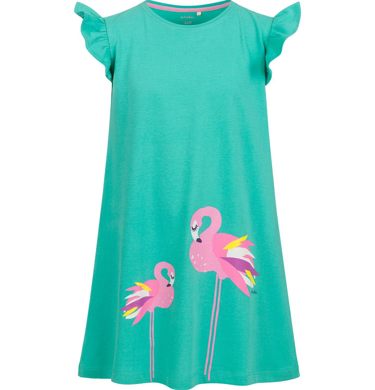 Endo - Sukienka z krótkim rękawem, luźny krój, z flamingiem, zielona, 9-13 lat D03H508_1