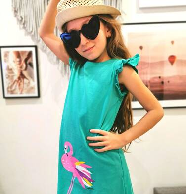 Endo - Sukienka z krótkim rękawem, luźny krój, z flamingiem, zielona, 9-13 lat D03H508_1 5