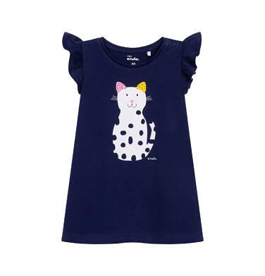 Endo - Dżersejowa sukienka z krótkim rękawem dla dziewczynki do 2 lat, z kotem, granatowa N05H019_1 3