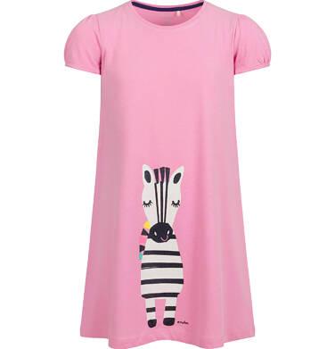 Endo - Sukienka z krótkim rękawem, luźny krój, z zebrą, różowa, 2-8 lat D03H009_1 5