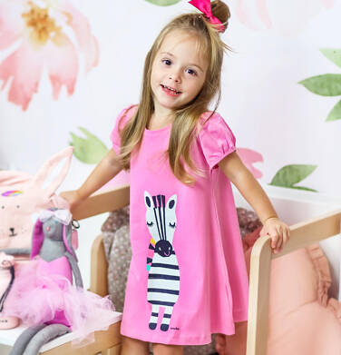 Endo - Sukienka z krótkim rękawem, luźny krój, z zebrą, różowa, 2-8 lat D03H009_1 22