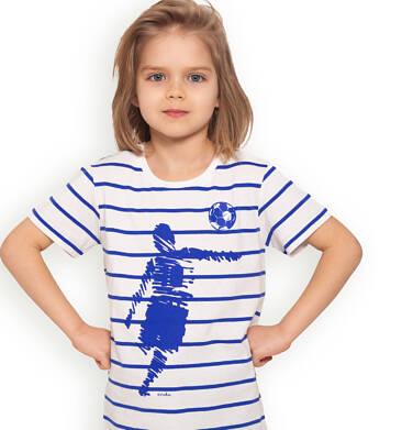 Endo - T-shirt z krótkim rękawem dla chłopca, z piłkarzem, biały w paski, 2-8 lat C05G061_1 13