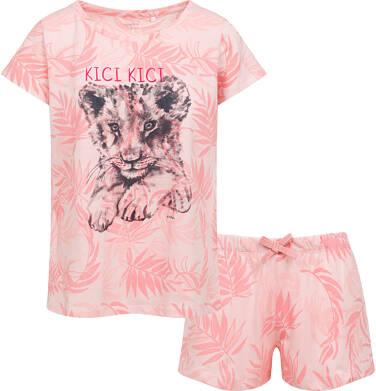 Endo - Damska piżama z krótkim rękawem, z małym lwem,  różowa Y05V003_1 7