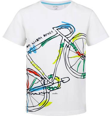 Endo - T-shirt z krótkim rękawem dla chłopca, z kolorowym rowerem, biały, 9-13 lat C03G593_2 22