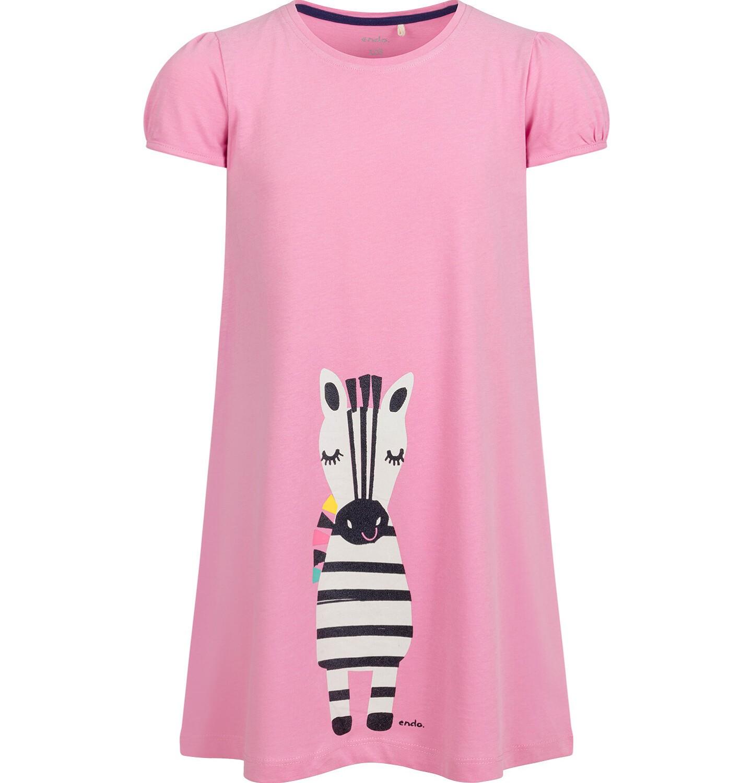 Endo - Sukienka z krótkim rękawem, luźny krój, z zebrą, różowa, 9-13 lat D03H509_1