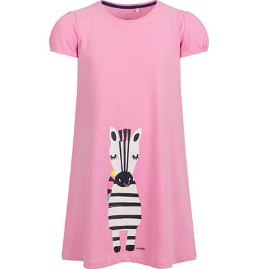 Endo - Sukienka z krótkim rękawem, luźny krój, z zebrą, różowa, 9-13 lat D03H509_1 2