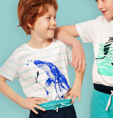 Endo - T-shirt z krótkim rękawem dla chłopca, z wielorybem, biały w paski, 2-8 lat C05G083_1 11