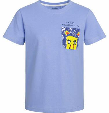 T-shirt z krótkim rękawem dla chłopca, z kieszonką, błękitny, 2-8 lat C03G001_1