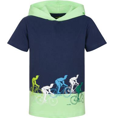 Endo - T-shirt z krótkim rękawem dla chłopca, z kontrastowym kapturem, granatowy, 2-8 lat C03G094_1