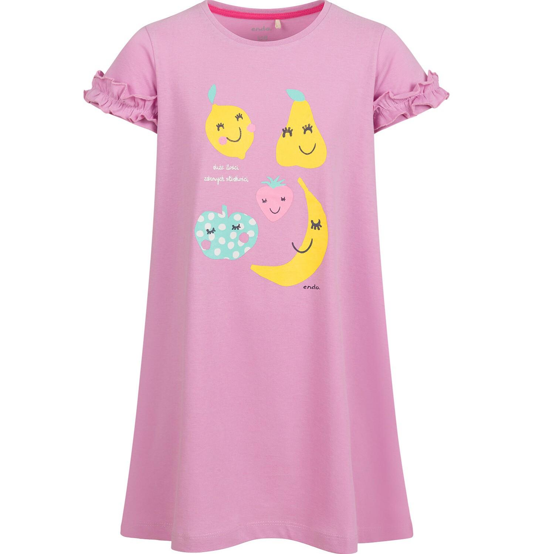 Endo - Sukienka z krótkim rękawem, owocowy motyw, różowa, 2-8 lat D03H043_1