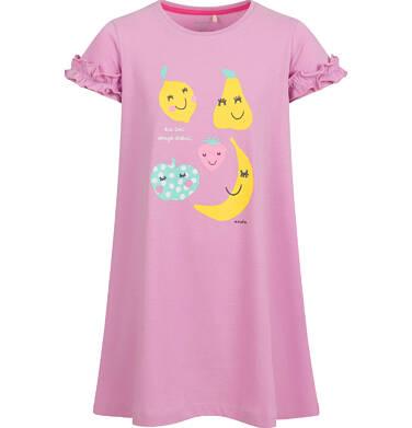 Endo - Sukienka z krótkim rękawem, owocowy motyw, różowa, 2-8 lat D03H043_1 3