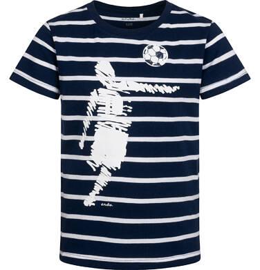 T-shirt z krótkim rękawem dla chłopca, z piłkarzem, granatowy w paski, 2-8 lat C05G104_1