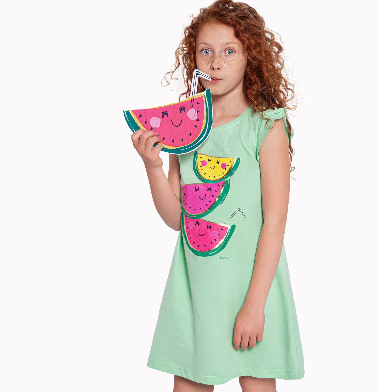 Endo - Sukienka z krótkim rękawem, owocowy motyw, zielona, 2-8 lat D03H044_1