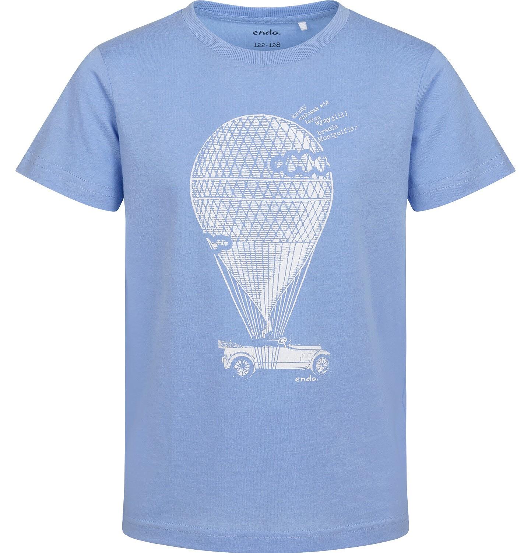 Endo - T-shirt z krótkim rękawem dla chłopca, z balonem, niebieski, 9-13 lat C05G121_1