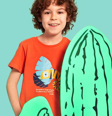 Endo - T-shirt z krótkim rękawem dla chłopca, z kameleonem, pomarańczowy, 2-8 lat C03G004_1