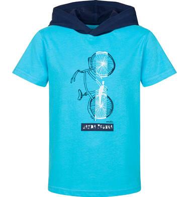 T-shirt z krótkim rękawem dla chłopca, z kontrastowym kapturem, niebieski, 2-8 lat C03G095_1