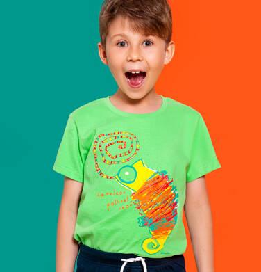 Endo - T-shirt z krótkim rękawem dla chłopca, z kameleonem, zielony, 2-8 lat C06G117_1 108