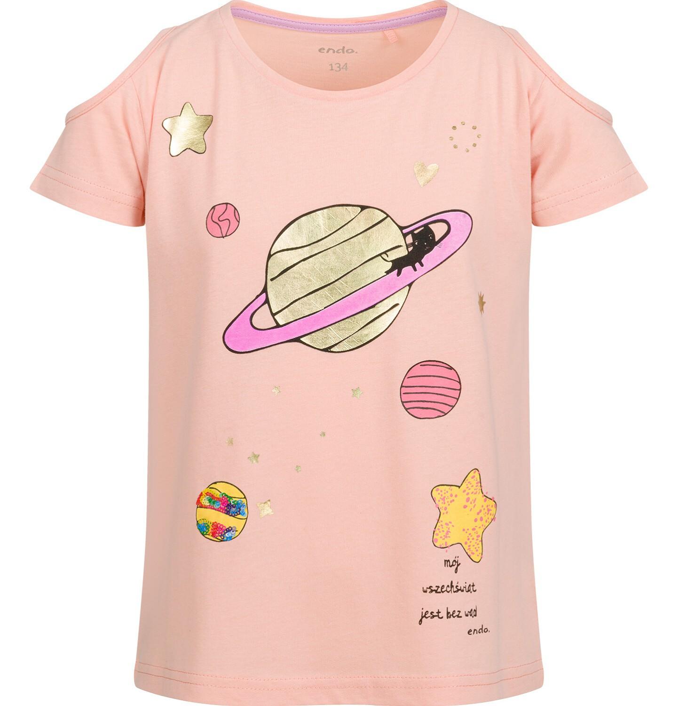 Endo - Bluzka z krótkim rękawem dla dziewczynki, z planetą i odkrytymi ramionami, pomarańczowa, 9-13 lat D03G626_1