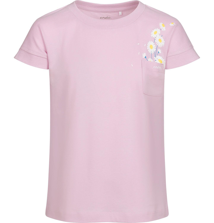 Endo - T-shirt z krótkim rękawem i kieszonką dla dziewczynki, ze stokrotkami, lila, 9-13 lat D05G016_2