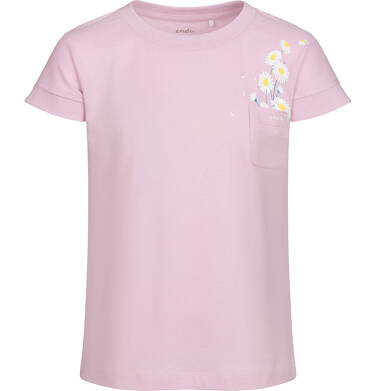 T-shirt z krótkim rękawem i kieszonką dla dziewczynki, ze stokrotkami, lila, 9-13 lat D05G016_2