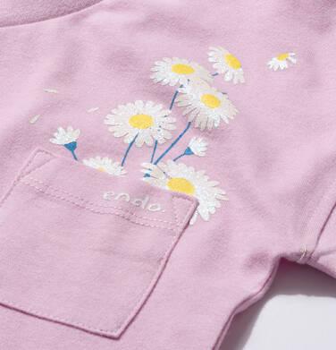 Endo - T-shirt z krótkim rękawem i kieszonką dla dziewczynki, ze stokrotkami, lila, 9-13 lat D05G016_2,2
