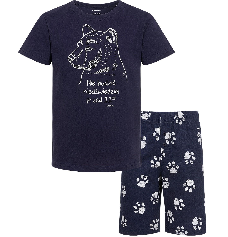Endo - Piżama z krótkim rękawem, z niedźwiedziem, granatowa, 9-13 lat C05V015_1