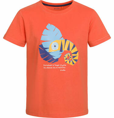 T-shirt z krótkim rękawem dla chłopca, z kameleonem, pomarańczowy, 9-13 lat C03G504_1