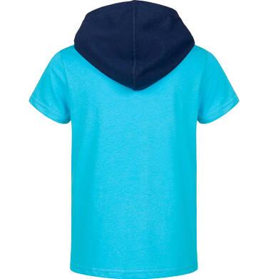 Endo - T-shirt z krótkim rękawem dla chłopca, z kontrastowym kapturem, niebieski, 9-13 lat C03G595_1 4