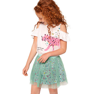 Endo - Sukienka z krótkim rękawem i tiulowym dołem, z panterą w serca, 2-8 lat D03H054_1 19