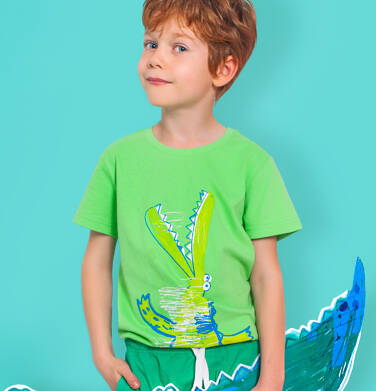 Endo - T-shirt z krótkim rękawem dla chłopca, z krokodylem, zielony, 2-8 lat C06G118_1 107