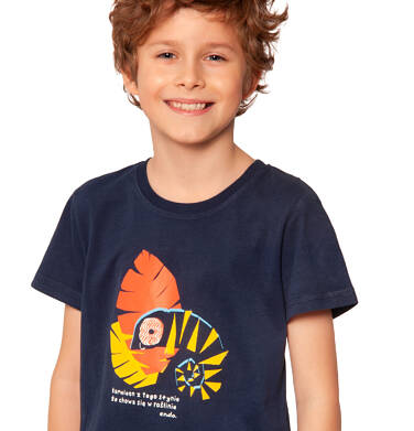 Endo - T-shirt z krótkim rękawem dla chłopca, z kameleonem, ciemnogranatowy, 2-8 lat C03G004_2