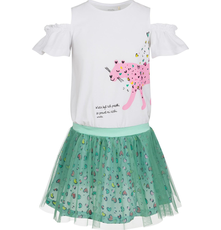 Endo - Sukienka z krótkim rękawem i tiulowym dołem, z panterą w serca, 9-13 lat D03H554_1
