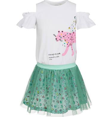 Endo - Sukienka z krótkim rękawem i tiulowym dołem, z panterą w serca, 9-13 lat D03H554_1 171
