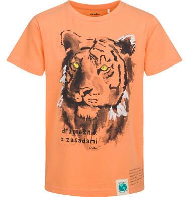 Endo - T-shirt z krótkim rękawem dla chłopca, z tygrysem, pomarańczowy, 9-13 lat C05G172_2 13