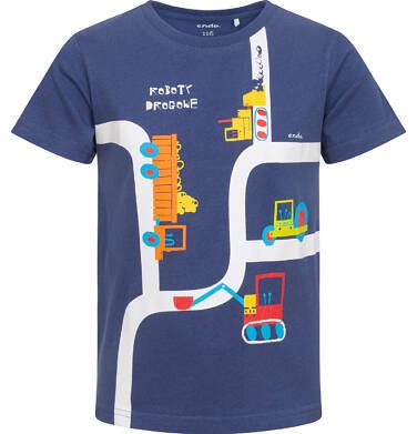 Endo - T-shirt z krótkim rękawem dla chłopca, z pojazdami, granatowy, 2-8 lat C06G123_1 32
