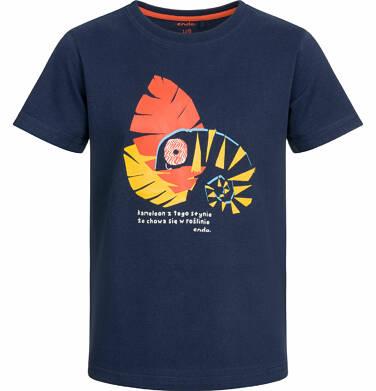Endo - T-shirt z krótkim rękawem dla chłopca, z kameleonem, ciemnogranatowy, 9-13 lat C03G504_2